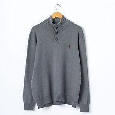 Ralph Lauren Turtle Neck Jumper in Grey Size XL Funnel Polo Cardigan Sweater