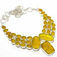 """Carved Yellow Sapphire, Onyx Gemstone Ethnic Jewelryr Necklace 18""""AK-1527"""
