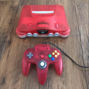 Nintendo 64 Clear Red Console Japanese Version Great Condition