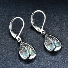 1 Pair Woman fashion 925 Silver Tree White Fire Opal Charm Earring Pendant NEW ~