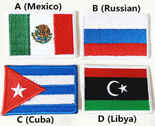 World Flag Mexico Russian Cuba Libya Cool Embroidered Applique Iron on Patch