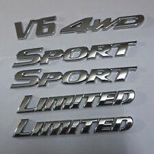 2PCS SPORT&LIMITED + 1PC V6 + 1PC 4WD Silver Metal Emblem Sticker Badge High 3D