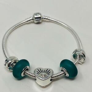 Pandora  Silver Charm Bangle Bracelet w/5 bead/charms  NWOT