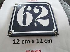 Hausnummer Nr. 62 weisse Zahl auf blauem Hintergrund 12 cm x 12 cm Emaille Neu