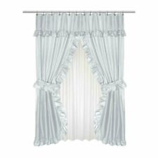 Lauren Diamond-Piqued Double Swag Shower Curtain Ruffled Valance 70 x 72 Grey