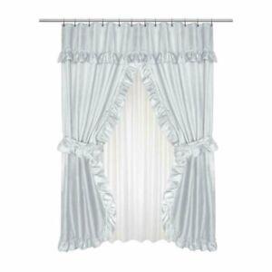 Lauren Diamond-Piqued Double Swag Shower Curtain Ruffled Valance 70 x 72 Grey