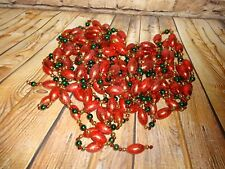 Christmas Tree Garland 36 ft. total Red Green Gold Bulbs Glitter 4-9ft. Strands