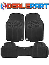 3PCE HEAVY DUTY BLACK CAR RUBBER FRONT AND REAR FLOOR MAT IDEAL FOR TAXIS X1 SET