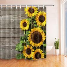 "Sunflower on old Wooden Board Shower Curtain & Hook Set Waterproof Fabric 69x71"""