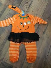 Baby Girls HALLOWEEN Pumpkin sleepsuit/tutu & head band - Age 12-18 months, NEW