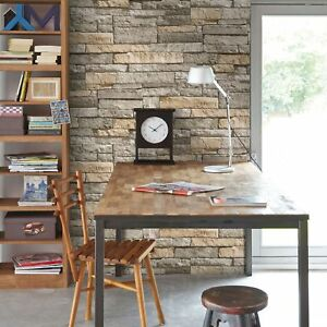 Superfresco Easy Ledgestone Paste the wall Stone Effect Grey/Terracotta