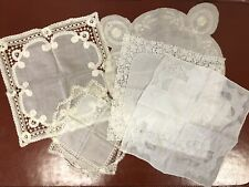 Vtg Wedding Hankie Bridal Handkerchief Embroidery Floral Lace, Lot of 5