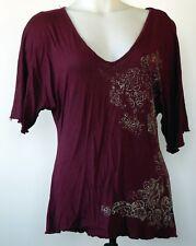 Calvin Klein Burgundy Red V-Neck Filigree Scroll Viscose Knit S/S Dolman Shirt L