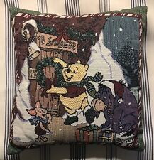 """Disney Winnie The Pooh -Winter Holiday Accent Pillow- 12"""" X 11"""" Preowned"""