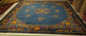 "ANTIQUE HAND KNOTTED CHINESE ART DECO RUG- 10' 6"" X 10' 6"""