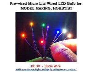 Prewired Super Micro Litz LED Bulbs for Model Building, Hobbies - 6 COLOURS opt.