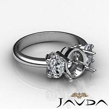 Oval Diamond 3 Stone Anniversary Semi Mount Prong Set Ring 14k White Gold 1Ct