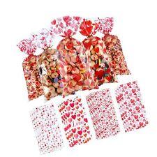 100 Pieces Plastic Valentines Party Treat Bags Cupid's Arrow Print Pattern Ce.