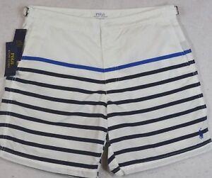 Polo Ralph Lauren Swim Trunks Board Shorts Monaco Striped Nautical 38 NWT $85