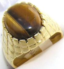 18K GOLD EP OVAL MENS RING TIGER EYE size 8 or Q