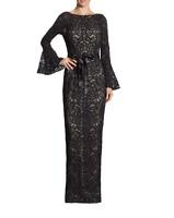 NWT Rickie Freeman for Teri Jon Black Bell Sleeve Ribbon Tie Waist Lace Gown 2