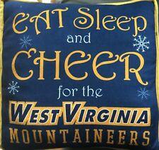 Throw Pillow West Virginia Mountaineers Eat Sleep Cheer Sofa Couch Cushion Blue