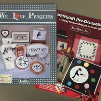 Lot of 2 Penguin Cross Stitch Chart Booklet We Love Penguins & Pre Occupations
