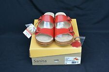 Sanita 40 9.5  Red Deanna Leather Sandal Women's New in Box with Keychain SALE