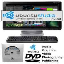 LINUX UBUNTU STUDIO 32-BIT  O/S Boot DVD Multimedia Workstation Full Install