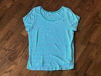 Women's Lane Bryant Scoop Neck Short Sleeve Striped Top Size 14/16