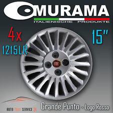 4 Original MURAMA 1215LR Radkappen für 15 Zoll Felgen FIAT GRANDE PUNTO ROT LOGO