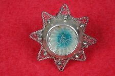 Vintage German Glass Christmas Ornament Wire Wrapped Tinsel Indent STUNNING!!
