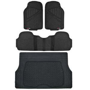 Black FlexTough 4PC Floor Liners Cargo Mat, All Weather HD Rubber Mats Package