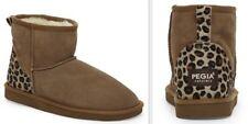 PEGIA Naturally Women's European Suede & Leopard Sheepskin Classic Short Boots
