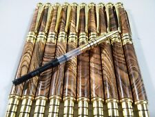 TEN PCS Collectable Tiger stripe Wood  ball-point pen with fountain pen refills