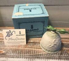 Vintage 1988 Lladro Porcelain Santa Claus & Reindeer Christmas Bell Ornament