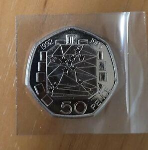 1992/1993 EEC 50p Coin, Brilliant Uncirculated,Fifty Pence, Bunc/Unc/Bu,GB,UK,EU