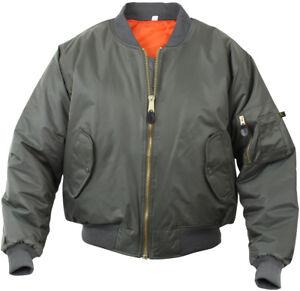 MA-1 Flight Jacket Military Bomber Coat Reversible Orange MA1 Army Air Force