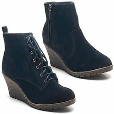 Faux Suede Wedge Lace Up Casual Boots for Women