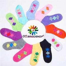 Lot 12 Pairs New Cotton Women's Girls Argyle Ankle Low Cut Socks 9-11 ms601104