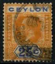 Ceylon 1921-32 sg#351b, 25c Arancione-Giallo & Blu KGV DIE II USATO #d29309