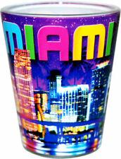 MIAMI FLORIDA PURPLE NIGHT SKYLINE SHOT GLASS