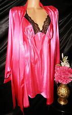 Nightgown/Peignoir Set. XL, NWT by Apt  9.  Fushia and Black Lace. LOOK!