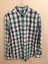 Le Tigre M Medium shirt long sleeve plaid button down men's Blue Green Flannel