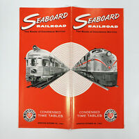 1962 Seaboard Railroad Time Table Air Line Vintage Railway Travel Map Ads