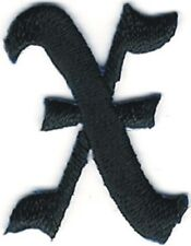 """1 1/8"""" Fancy Black Old English Alphabet Letter X Embroidered Patch"""