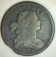 1802 Draped Bust Copper Large Cent Early Penny Type US Coin Clipped Circulated