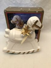 "Vintage Christmas Pony Decor Ceramic Rocking Horse Figurine White/Gold 8"" NIB"