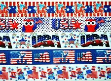 """Grosgrain Ribbon 5 yds 7/8"""" July 4th Independence Day Usa American Flag Printed."""