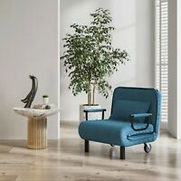 Convertible Sofa Bed Sleeper Chair 5 Position Folding Arm Chair with Pillow Blue